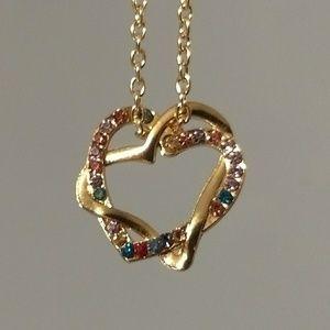 Jewelry - DOUBLE HEART NECKLACE - rhinestone jewelry love